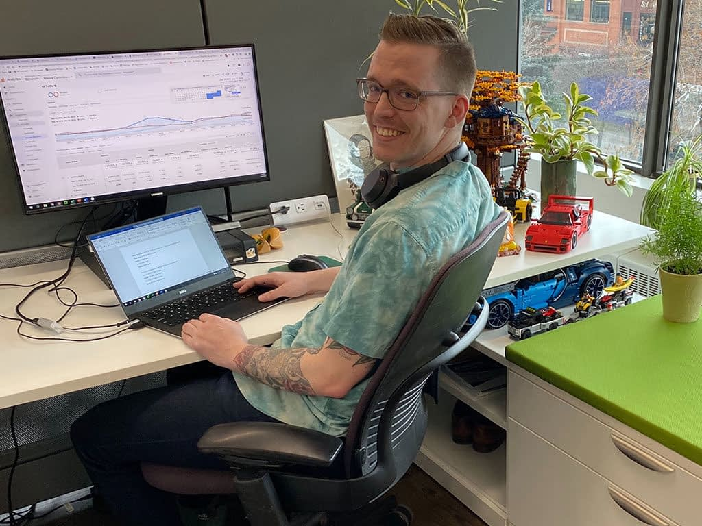 Dan working hard at his desk in the Vovia office.