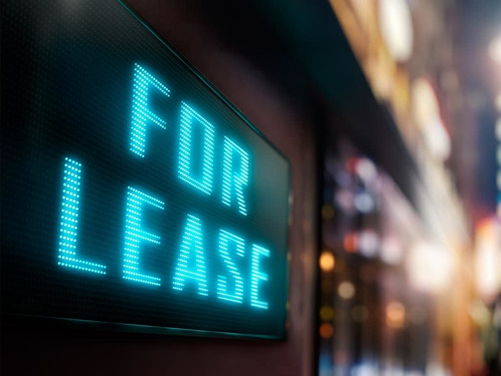 For lease sign in empty store