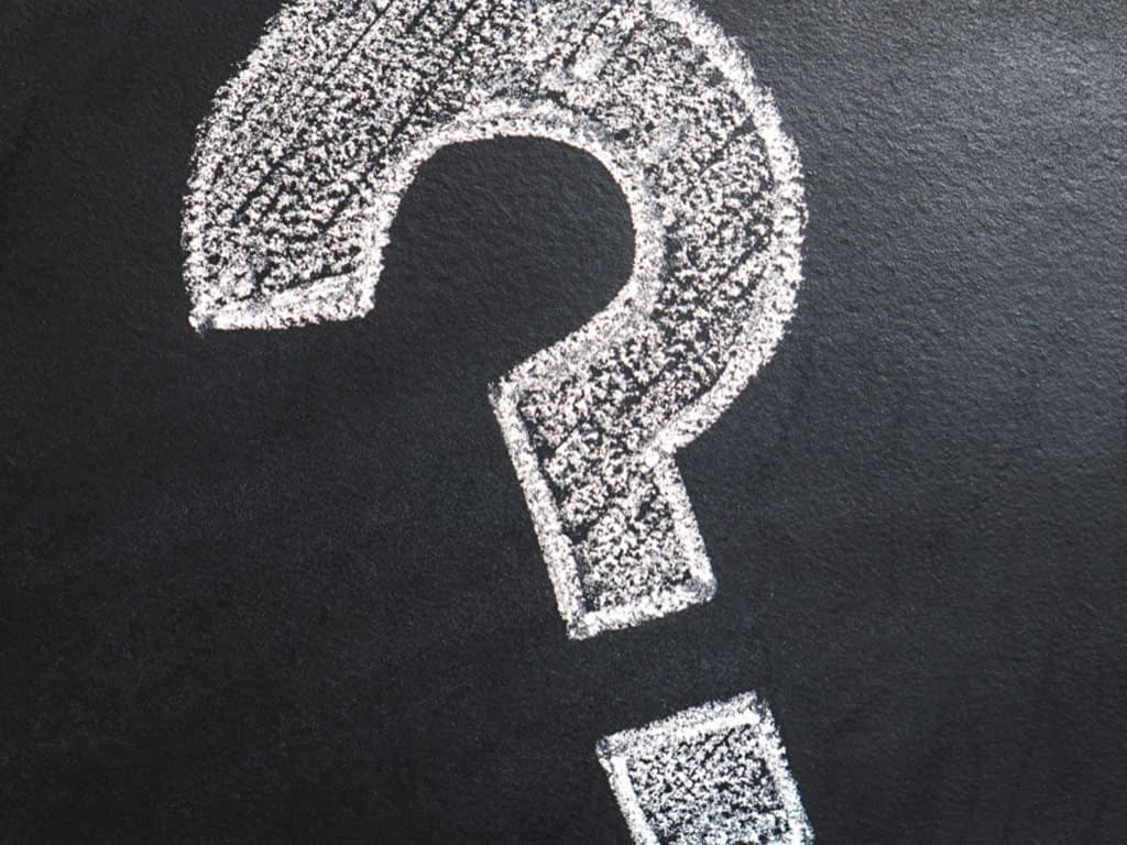 Image of question mark on chalk board