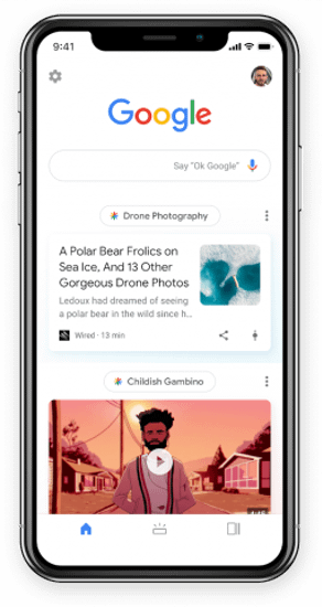 Image of Google Discover App on a phone