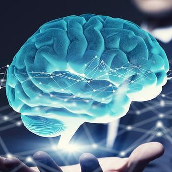 Image of glowing blue brain