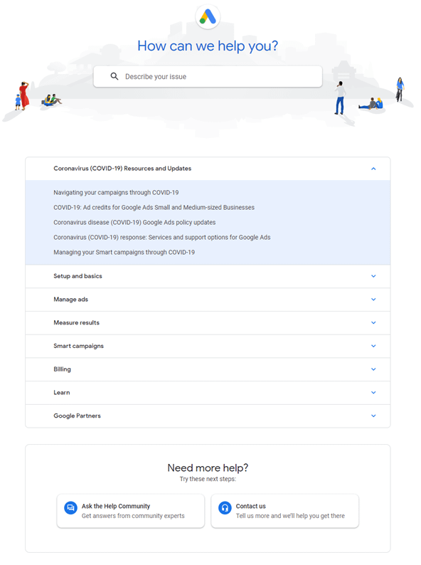 Screenshot of Google Ads community help